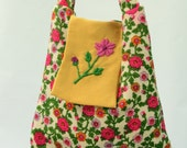 Eco Friendly Handmade Bag Repurposed Vintage Dress Embroidered Floral