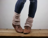 Upcycled Recycled Repurposed Sweater Ankle Warmers Taupe