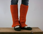 SALE Upcycled Recycled Repurposed Sweater Leg  Warmers Tangerine