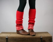 Upcycled Recycled Repurposed Sweater Leg  Warmers Fair Isle Knit Red Cream Black