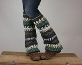 Upcycled Recycled Repurposed Sweater Leg  Warmers Tribal Olive White Charcoal Aqua