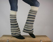 Upcycled Recycled Repurposed Sweater Leg  Warmers Tribal Taupe Beige Navy Blue