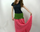 Upcycled Embellished Reclaimed Repurposed Skirt Boho Long Pink Green
