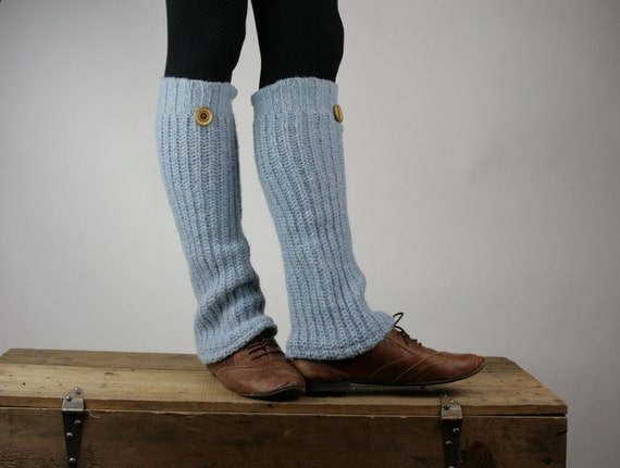 Upcycled Recycled Repurposed Sweater Leg Warmers Pale Blue