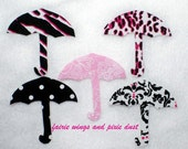 Applique Handmade, Classic Umbrella's in Black, White and Hot Pink  5 pieces  3 1/4 x 3 1/4