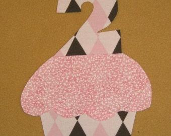 "Cupcake Applique - Light Pink Argyle - 8 x 4 1/2"" - Iron on Sell on"