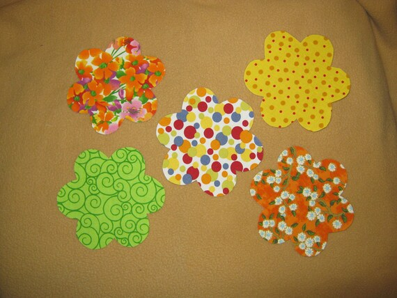 "Applique handmade Flowers, flower applique, flower patch applique, applique flower - 4 1/4 x 4 1/4"" - Set of 5 - Iron on Sew on"