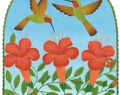 Hummingbirds and Bees Card