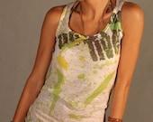 Green Yellow White Women Sleeveless Tank Top BOTH SIDE PRINTED Spring Fashion Special Design