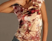 yellow pink purple white t-shirt shoot off funny lovely dangerousspring fashion one side printed