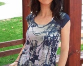 New Collection Grey Black Skyscrapers Special Design Women Top one side printed