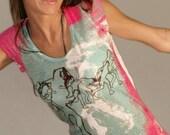 pink colorful homo sapiens tie dye t-shirt cute beautiful flying spring fashion one side printed