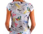 Spring Fashion, Animal Print, Bird Women T-shirt, Women Shirt