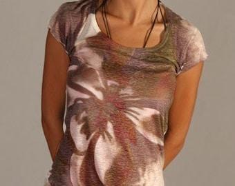 flower t-shirt beautiful summer brown spring fashion tie dye original design  one side printed