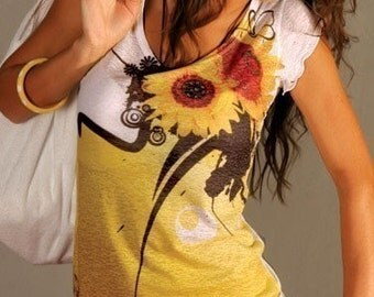 Christmas Gift, Spring trends, yellow t shirt sunflower, women t shirt