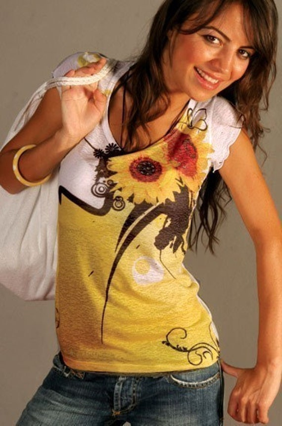 yellow sunflower  t-shirt  sunshine beautiful colorful unique Spring fashion one side printed