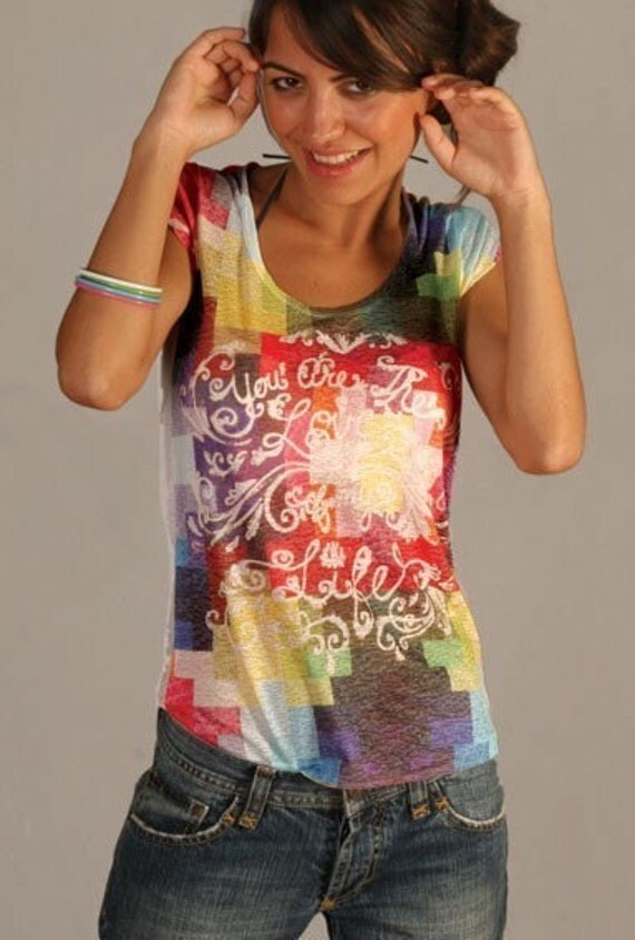 Red Yellow Blue Pixels Special Design Spring Fashion Women Top one side printed