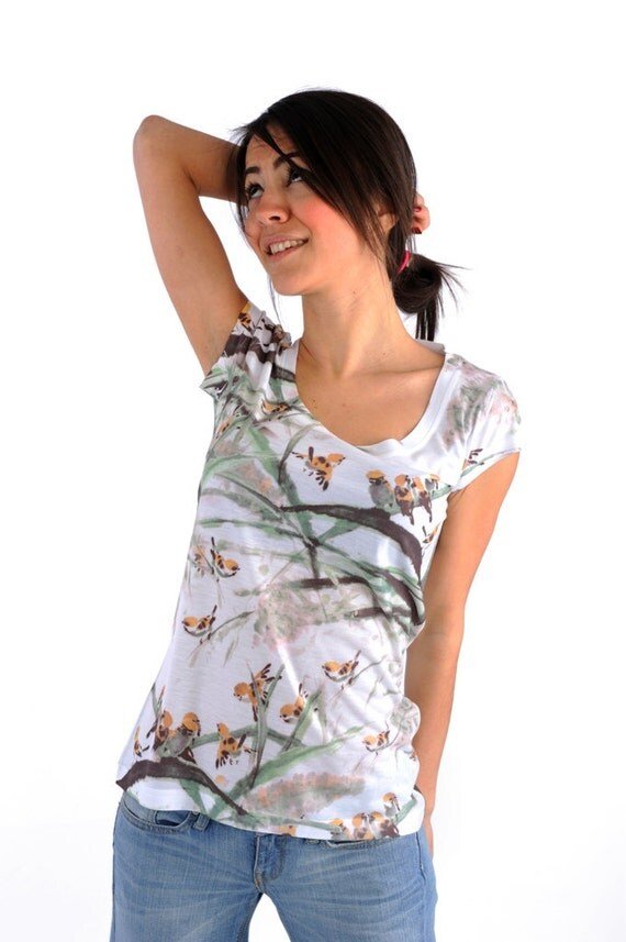 Green Women shirt bird print winter fashion new design women t shirt one side printed