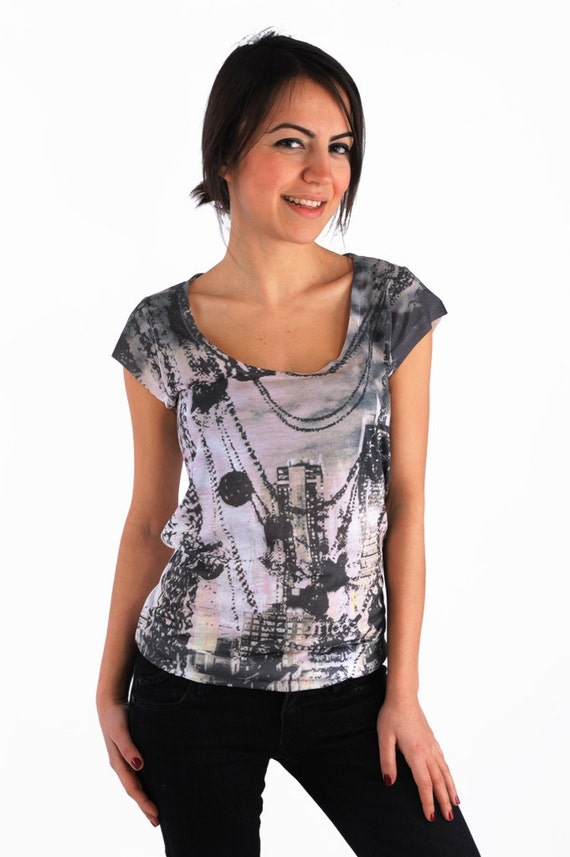 New Collection Grey Black Skyscrapers and Chains Design Women Top one side printed