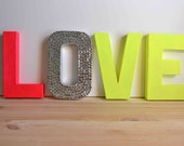 Neon Pink & Neon Yellow LOVE Letters for Wedding or Home Decor