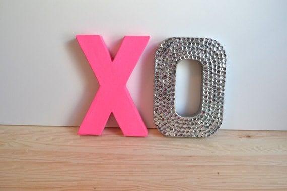 Neon Pink & Silver XO for wedding or home decor