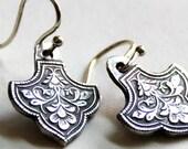 Fine Silver Tribal Earrings, Ethnic Silver Earrings, Floral Earrings, Afghan earrings