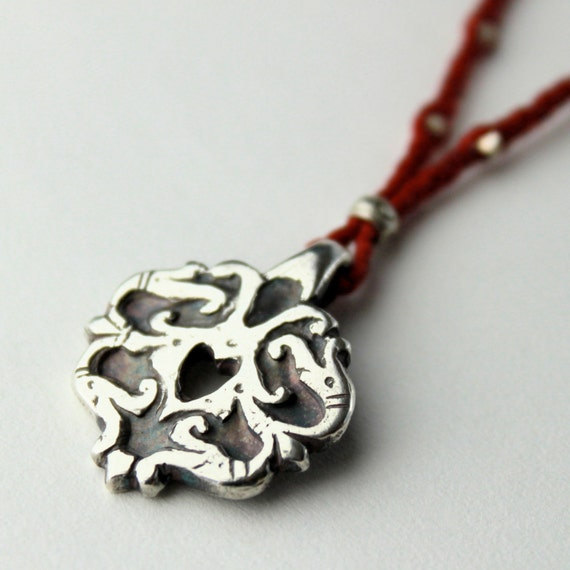 Fine Silver Tribal Arabesque Valentine Necklace with Red Braided Cord