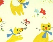 Paris Paws Cat At The Park Fabric Retro By the Fat Quarter BTFQ Alexander Henry