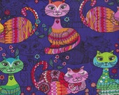 Asian Siamese Flirty Colorful Cats I Spy Fabric By the Yard