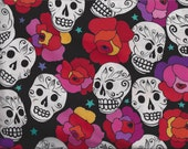 Estrella De Los Muertos Star of the Dead Fabric Skulls Roses By the Fat Quarter BTFQ