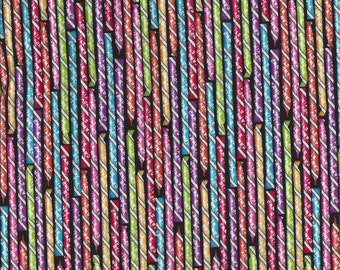 Pixie Stix Sticks I Spy Willy Wonka Candy Jar Quilt Fabric By the Fat Quarter BTFQ