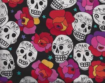 Estrella De Los Muertos Star of the Dead Fabric Skulls Roses By the Fat Quarter BTFQ