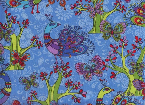 Peacocks and Butterflies I Spy Fabric Buy the Fat Quarter BTFQ