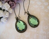 EARRINGS, Green Color Pierced Earrings Created by THE QUEENS CHIFFOROBE