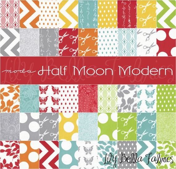 Moda - HALF MOON MODERN - 5 inch Quilting Fabric Squares Charm Pack