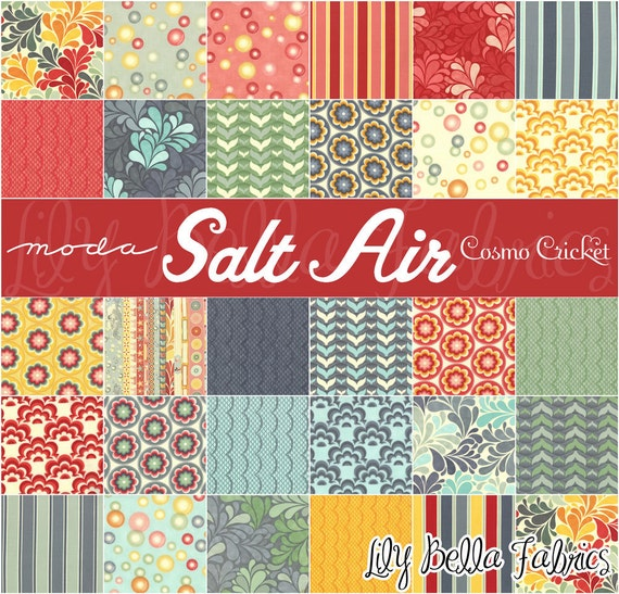 Cosmo Cricket  for Moda - SALT AIR - THREE 5 inch Quilting Fabric Squares Charm Packs