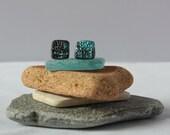 Turquoise&Black asymmetric stud earrings