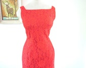 Vintage 1950s Dress  :  FLAME RED Bombshell Wiggle Dress