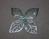 Filigree Leaf Pendants 64mm Silver - 3093