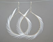 White Feather Earrings, Spiked Feather Hoops