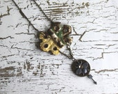 Gilbert Necklace ... vintage hinge . bedazzled bee tag . arrow charm