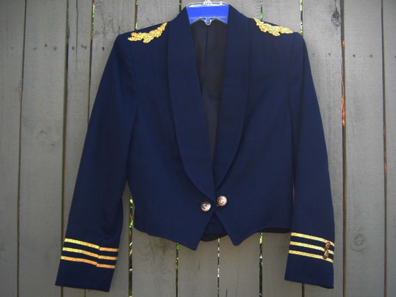navy and gold nautical captain's jacket s 80s