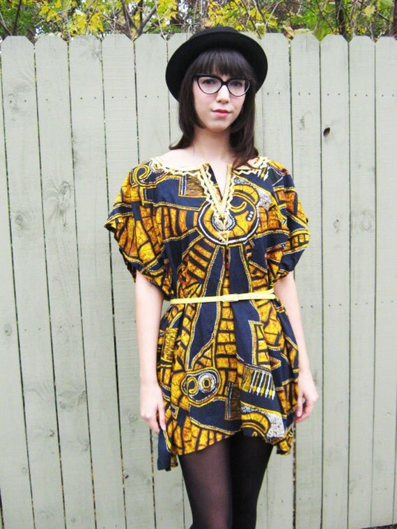 70's mini dress dashiki tunic s m l black navy mustard yellow batik dyed