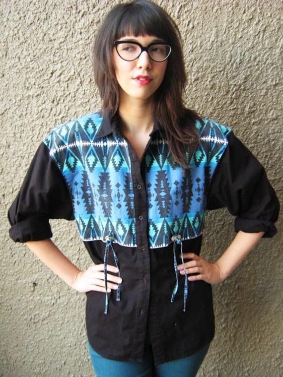 reserved for tara: 90's wrangler button down shirt black blue and green concho navajo inspired print m medium