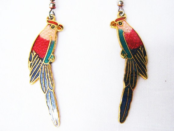 darling and whimsical cloisonne parrot bird earrings 80's free shipping