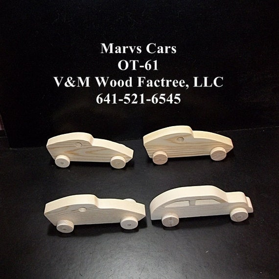 4 Handcrafted Wood Toy Cars OT-61 unfinished