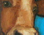 A COW'S ON CUE - ACEO - COW  FARM ANIMAL FOLK ART LE Giclee print from my original painting