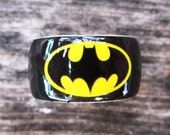 Wood Ring Batman Bat Signal