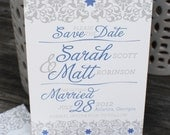 Sample of Floral and Flourish Save the Date Card