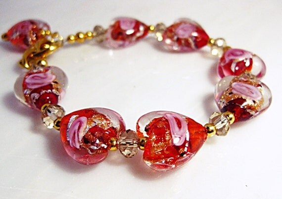 Ruby Heart Bracelet Red Lampwork Glass Crystal Chunky Bold Unique Heart Jewelry